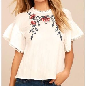 Moon River • Embroidered Twist Back Top
